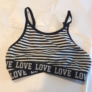 Black and White Striped Bra-let